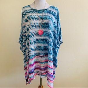Avenue PLUS  Poncho Knit Top Multicolor Striped